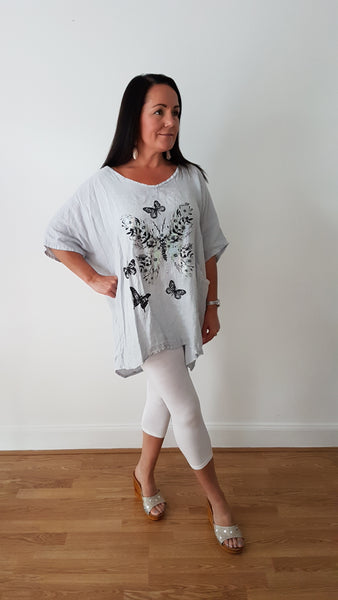 Oversized Silver Grey Linen Tunic Top