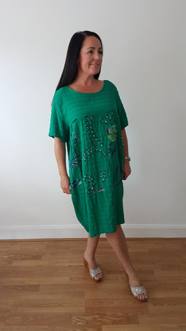 Easy Wear Linen Dress With Floral Print In Jade Green