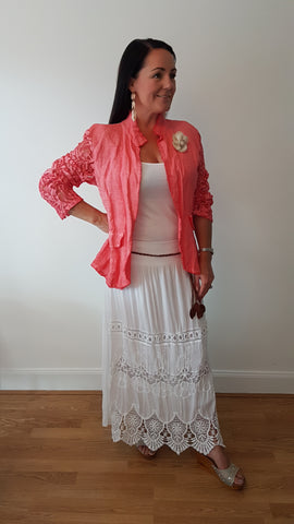 Cool Linen Jacket In Coral