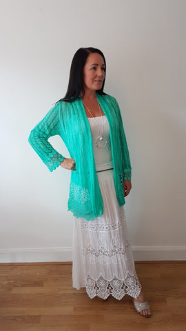 Pretty Crochet Cardigan In Apple Green