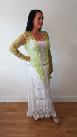 See Through Drape Tie Cardigan In Lime Green