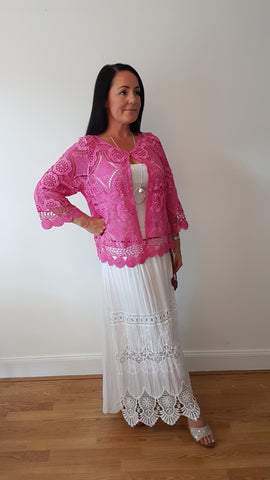 Elegant Lacey Cardigan In Hot Pink
