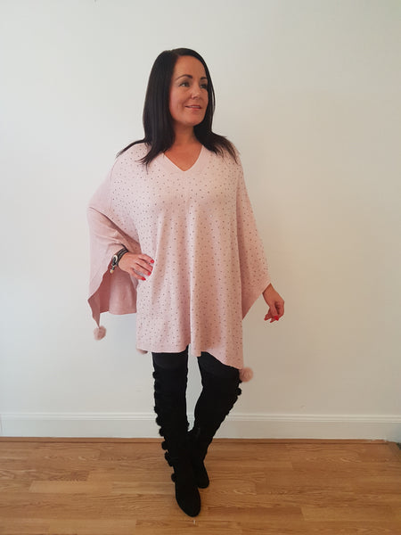 V-Neck Sparkly  Poncho In Pale Pink With Fur Pom Poms