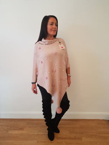 Pearl and Fur Poncho In Pale Pink With Fur Pom Poms