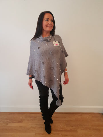 Pearl and Fur Poncho In Grey With Fur Pom Poms