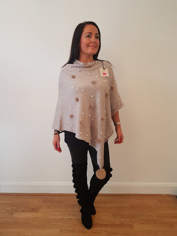 Pearl and Fur Poncho In Mocha With Fur Pom Poms