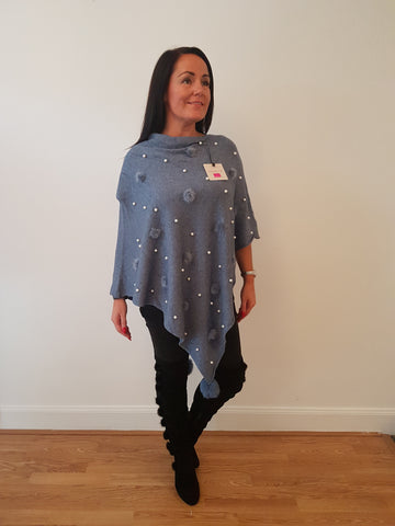 Pearl and Fur Poncho In Denim Blue With Fur Pom Poms