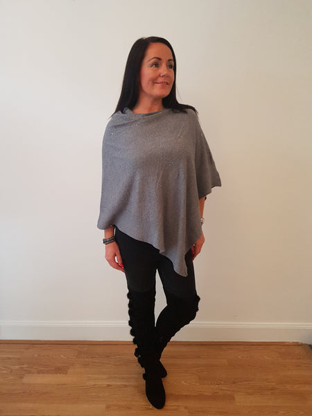 Sparkly  Poncho In Grey