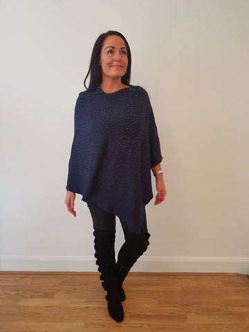 Sparkly  Poncho In Navy
