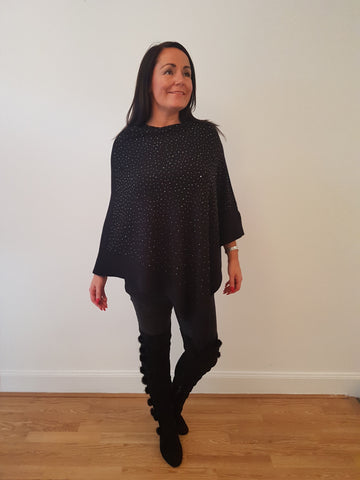Sparkly  Poncho In Black