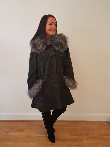 Super Glam Fur Trimmed Charcoal Grey Jacket