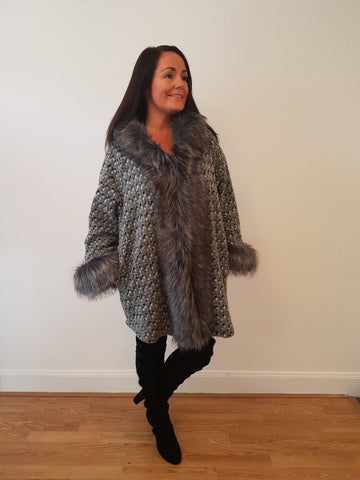 Super Glam Fur Trimmed Silver Grey Jacket