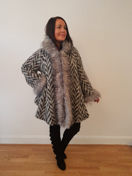 Super Glam Fur Trimmed Two Tone Grey Jacket