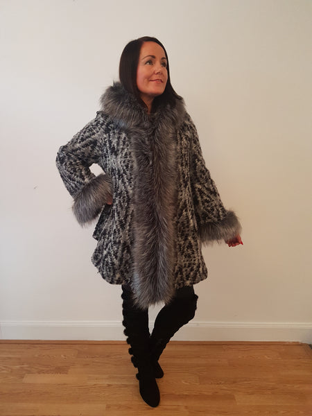 Super Glam Fur Trimmed Black/Grey Jacket