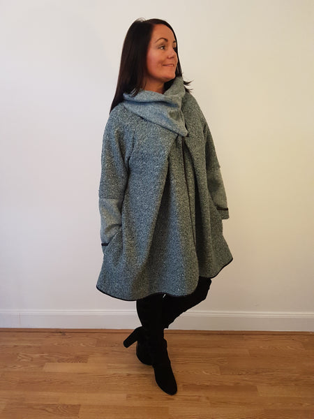 Super Chic Oversized Wrap Cardigan/Jacket With Zip Detail In Sage Green