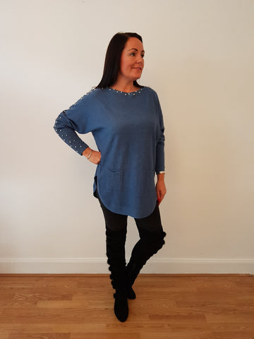 Chic Embellished Denim Blue Knitwear With Pearl And Bling Detail