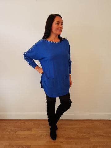 Chic Embellished Cobalt Blue Knitwear With Pearl And Bling Detail