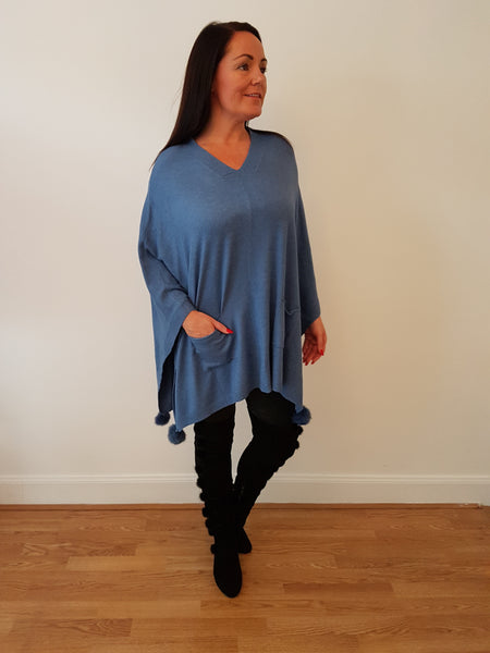 V-Neck Plain Poncho In Denim Blue  With Fur Pom Poms