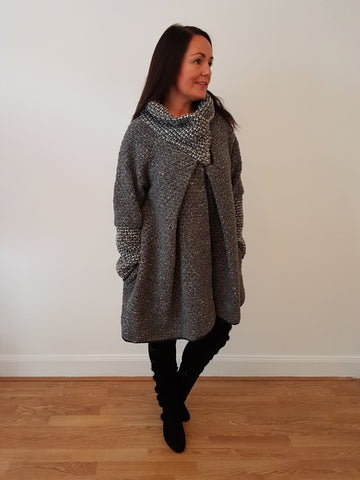 Oversized Wrap Cardigan/Jacket With Zip Detail In Charcoal Grey