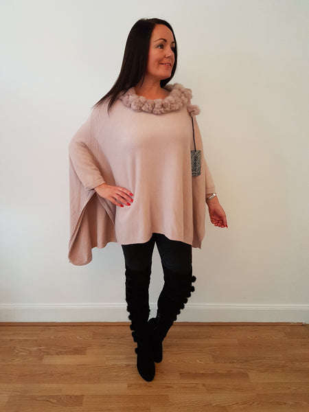 Super Chic Dusky Pink Poncho With Fur Trim and Pom Poms