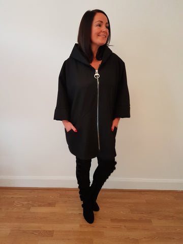 Oversized Jacket With Zip Detail In Black