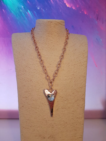 Abstract Rose Gold And Diamonte Heart Necklace