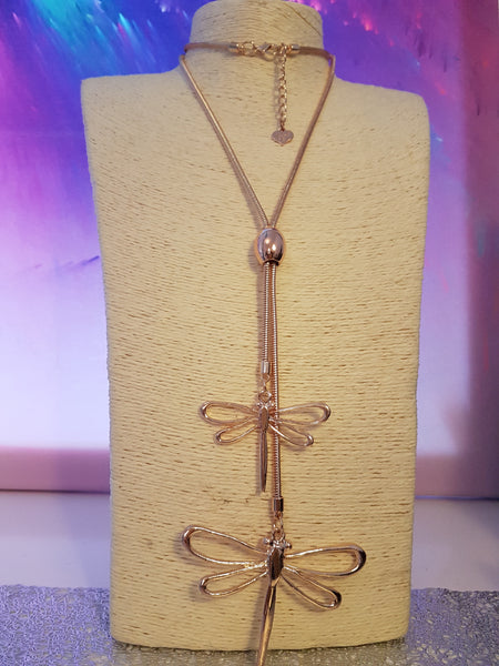 Dragonfly Rose Gold Statement Necklace