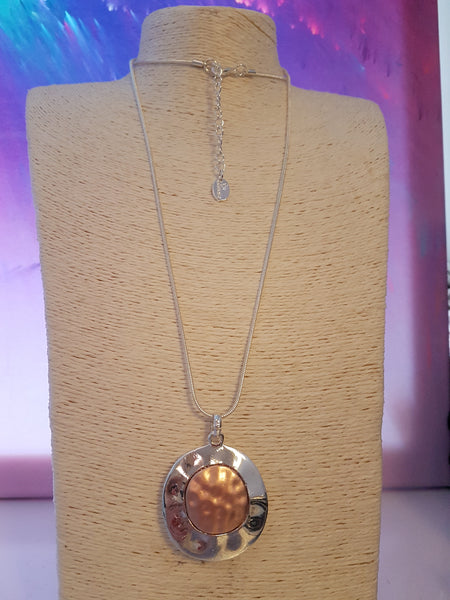 Gorgeous Silver And Rose Gold Disc Necklace