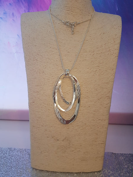 Abstract Hammered Triple Loop Necklace