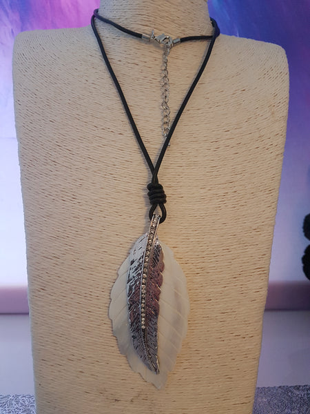 Beautiful Feather Necklace With Jeweled detail