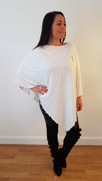 Stunning CC Inspired Sparkly Poncho In Winter White