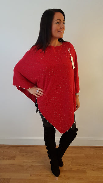 Stunning CC Inspired Sparkly Poncho In Red