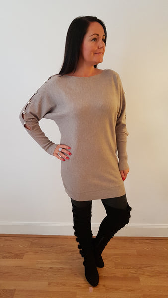 Exquisite Diamonte Open Sleeve Knitwear In Stone