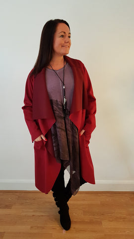 Elegant Faux Suede Coat In Deep Wine