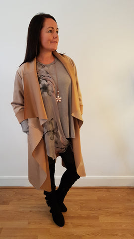 Elegant Faux Suede Coat In Camel
