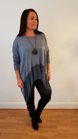 Cool Metallic Sheen Tunic Top in Denim Blue