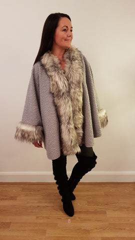 Super Glam Fur Trimmed Cape in Silver Grey