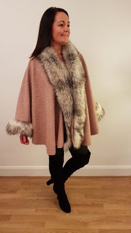 Super Glam Fur Trimmed Cape in Rose Pink