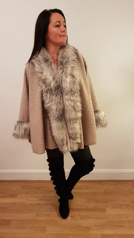Super Glam Fur Trimmed Cape in Stone