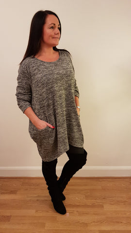Oversized Tunic Top With Pocket Detail In Charcoal Grey