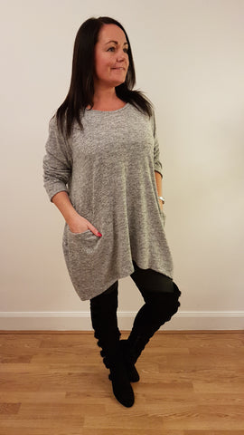 Oversized Tunic Top/Dress With Pocket Detail in Silver Grey