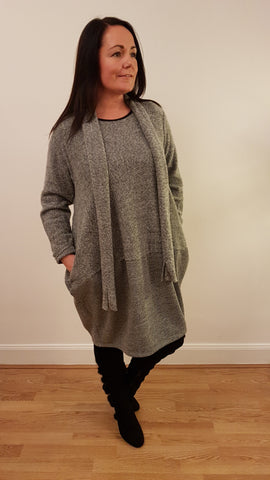 Super Cute Tunic/Dress With Matching Scarve in Charcoal Grey