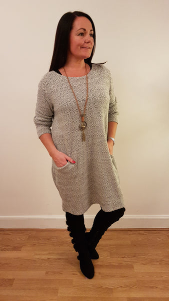 Super Cute Tunic/Dress With Necklace In Silver Grey