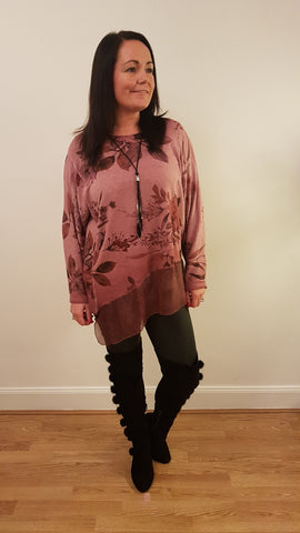 Cool Print Tunic Top in Raspberry