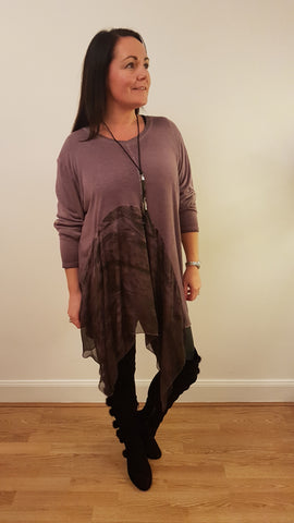 Cool Print Tunic Top in Mauve