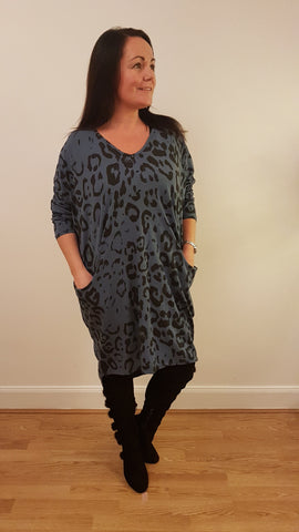 Oversized Tunic Top/Dress With Large Leopard Print In Denim Blue