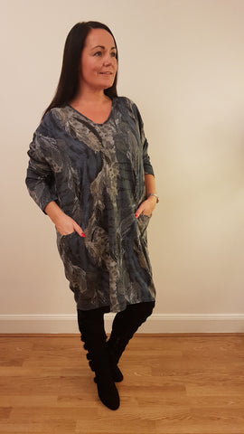 Oversized Tunic Top/Dress With An Elegant Print In Dark Blue
