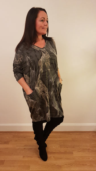 Oversized Tunic Top/Dress With Elegant PrintI In  Dark Grey