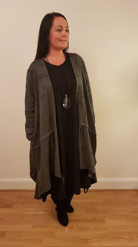 Unusual Parachute Cardigan  In Grey