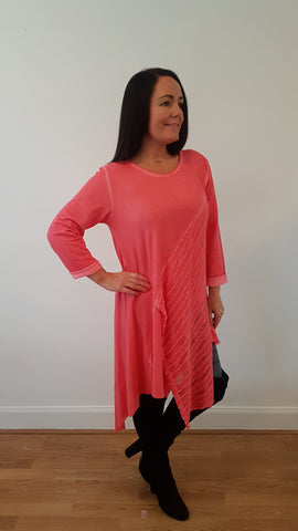 Cool Layered Stretch Jersey Top/Dress in Coral